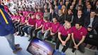 Los jugadores del primer equipo del FC Barcelona han seguido la presentación del Nou Camp Nou