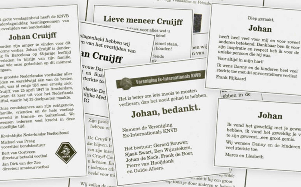 Tres p�ginas enteras de esquelas en honor a Johan Cruyff