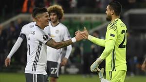 El Manchester United celebró su clasificación para los octavos de final