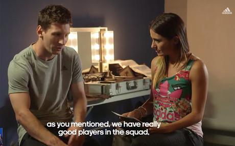 Leo Messi durante la entrevista concedida a Adidas Gameday Plus