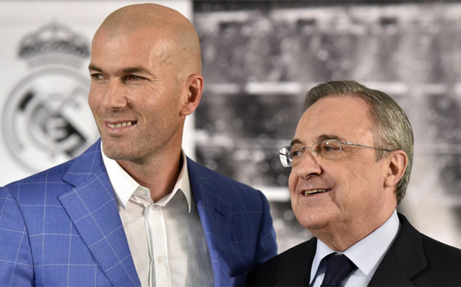 Zinedine Zidane y Florentino P�rez, entrenador y presidente del Real Madrid respectivamente