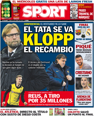 Tata Martino will leave Barcelona at end of season, Catalans want Jurgen Klopp [Sport & AS]