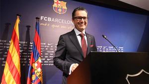 El portavoz del FC Barcelona, Josep Vives, en su comparecencia en el Palau Blaugrana