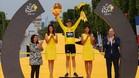 Chris Froome, en el podio de los Campos Elíseos como ganador del Tour'2017