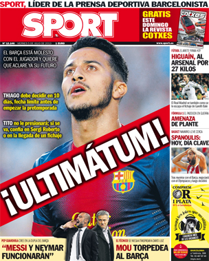 Man United target Thiago Alcantara given 10 days to decide whether to stay at Barcelona [Sport]
