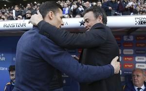 Galca y Luis Enrique se saludaron efusivamente antes del choque de Liga