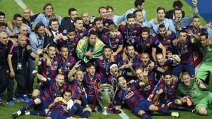 El Barça, celebrando la Champions de Berlín
