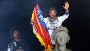 Ramos, durante la celebración del título