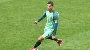 Cristiano, durante el partido que jugó con su selección ante Rusia