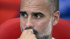 Guardiola estaba visiblemente afectado por lo ocurrido en Barcelona