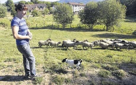 Maider Unda, con sus ovejas