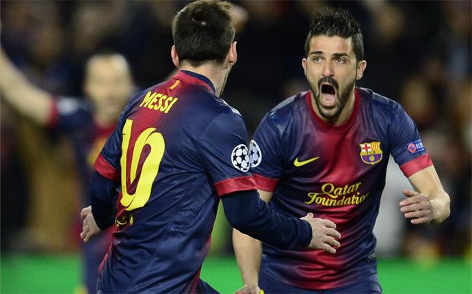 Villa y Messi - Barcelona/Milan 2013