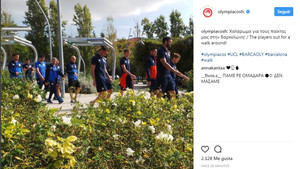 La plantilla del Olympiacos en las horas previas al entrenamiento de este martes en el Camp Nou