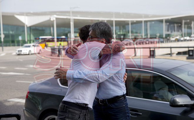 Leo Messi, en el aeropuerto de Barcelona