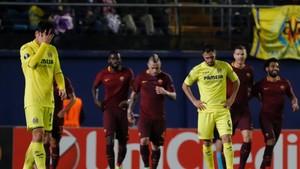 El abatimiento de los jugadores del Villarreal era evidente