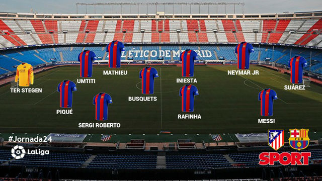 El once del FC Barcelona ante el Atlético de Madrid