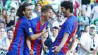 Los jugadores del Barça celebran uno de los cuatro goles