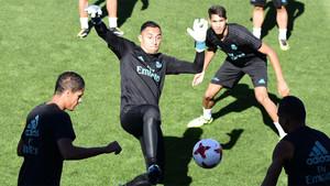 Keylor Navas durante el entrenamiento previo al Barça-Real Madrid de la Supercopa de España