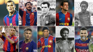 De izquierda a derecha (arriba): Rivaldo, Romário, Evaristo, Belletti y Bio. Abajo (mismo orden): Ronaldo, Neymar, Ronaldinho, Aloísio y Dani Alves