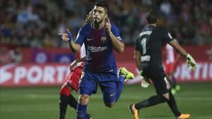 Luis Suárez marcó su segundo gol en la Liga en Girona
