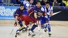 Bar�a-Porto, en una imagen del duelo de la pasada temporada en el Palau