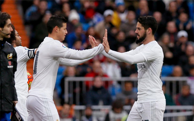 Isco y James Rodr�guez, retratados en el Real Madrid