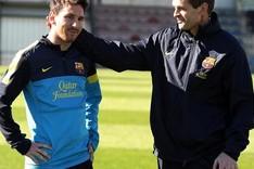 Messi, junto a Tito Vilanova en un entrenamiento