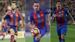 Meho Kodro, Paco Alcácer y Luis Suárez, jugadores del FC Barcelona