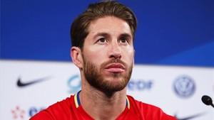 Sergio Ramos, durante su rueda de prensa con la selección