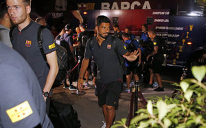 Luis Suárez, en su llegada a New York con el FC Barcelona