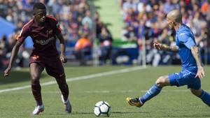 Dembélé, en una acción del Getafe-FC Barcelona en el que sufrió una grave lesión