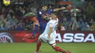 Luis Suárez en una acción del FC Barcelona - Sevilla FC de este sábado en el Camp Nou (2-1)