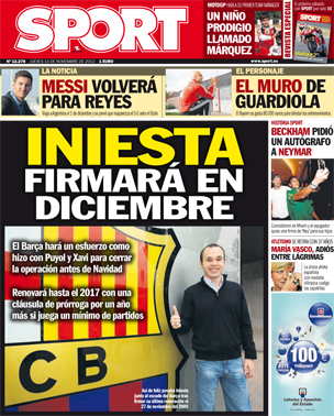 Thats Man United ruled out then! Andres Iniesta set to sign new Barcelona deal in December [Sport]