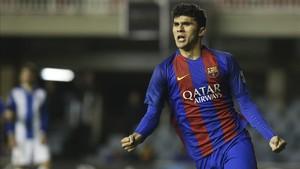Aleñá celebró con rabia el gol del empate ante el Espanyol B