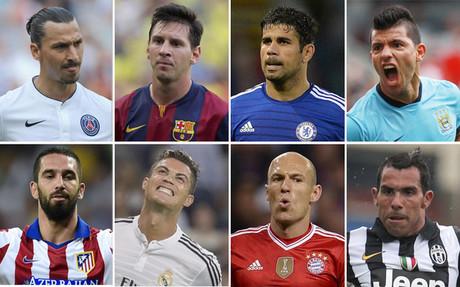 Arriba (de izquierda a derecha): Ibrahimovic, Messi, Diego Costa, Ag�ero. Abajo (deizquierda a derecha): Arda Turan, Cristiano Ronaldo, Robben y T�vez