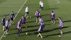 La plantilla del Real Madrid durante un entrenamiento en Valdebebas