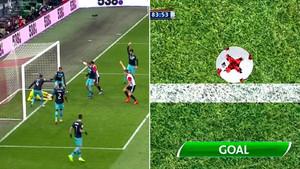 El remate de Van der Heijden traspasó totalmente la línea de gol... por muy poco