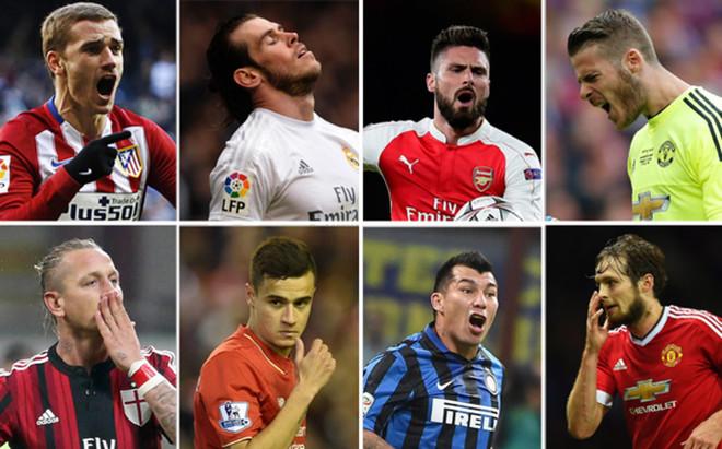 De izquierda a derecha y de arriba abajo: Griezmann (Atl�tico), Bale (R. Madrid), Giroud (Arsenal), De Gea (M. United), Mexes (Roma), Coutinho (Liverpool), Medel (Inter) y Blind (M. United)