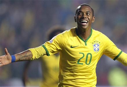 Robinho con la selecci�n de Brasil.