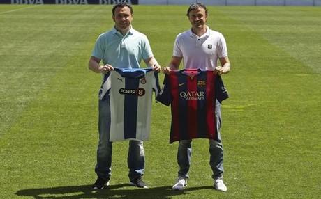 Sergio y Luis Enrique, con las camisetas