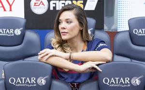 Lorena Gómez, en los banquillos del Camp Nou