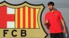 Andr� Gomes ya posa con el escudo del Bar�a