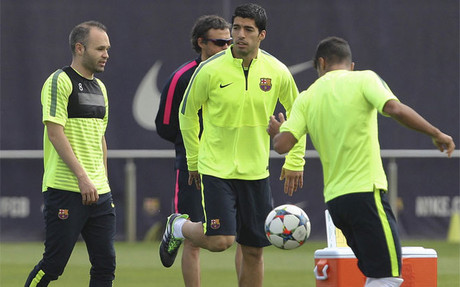 Andr�s Iniesta, en el entrenamiento