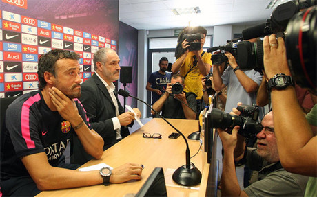Enrique and Zubizarreta in Wednesday's press conference