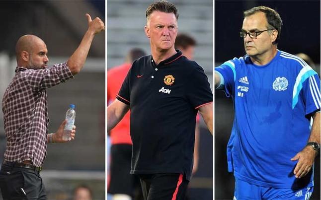 Josep Guardiola (Bayern), Louis van Gaal (Manchester United) y Marcelo Bielsa (Olympique de Marsella)