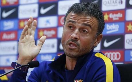 Luis Enrique Mart�nez, entrenador del FC Barcelona, durante una rueda de prensa