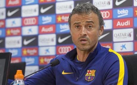 Luis Enrique Mart�nez, entrenador del FC Barcelona,�en una rueda de prensa�