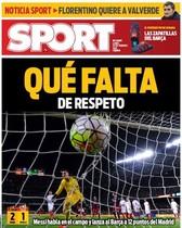 La portada de SPORT: Qué falta... de respeto