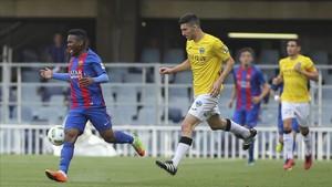 Wilfrid Kaptoum fue el autor del gol de la victoria la pasada jornada ante el Lleida Esportiu