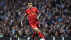 Coutinho, en un partido con el Liverpool